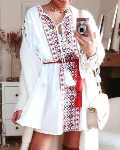 Temperament Printed Casual Shirt Mini Dress