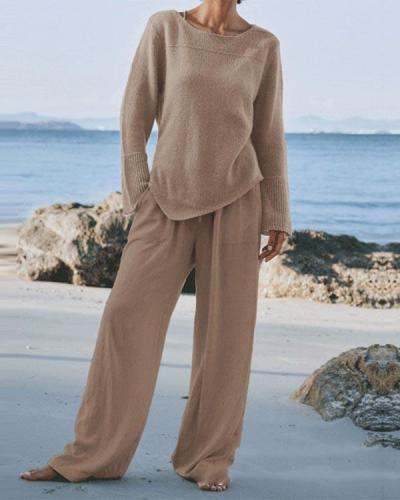 Autumn Long-sleeved Wide-leg Two-piece Suit