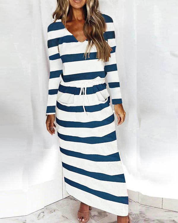 V-neck Loose Striped Print Long-sleeved Dress