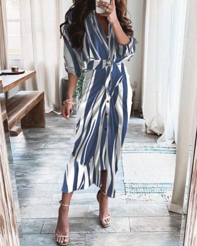 Elegant Print Satin Pleated Classy Bandage Shirt Dress