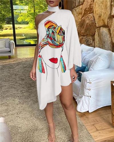 One Shoulder Print Irregular Dress