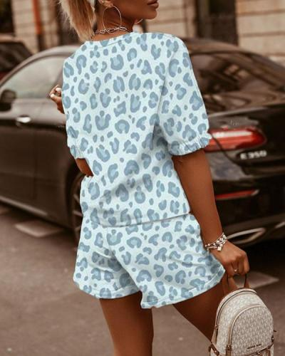 Two-Piece Printed Round Neck Short Sleeve T-Shirt & Shorts