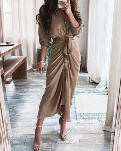 Elegant  Satin Pleated Classy Bandage Shirt Dress
