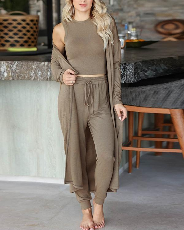 Casual Round Neck Long Sleeve Three-piece Suit