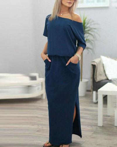 Women Side Slit Loose Evening Party Long Beach Dress with Pocket