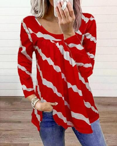 Stripe Casual Long-sleeved Tops