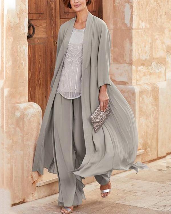Chiffon Wide Loose Shirt Twopiece Womens Suit