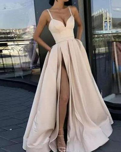 Elegant High-waist Sleeveless Split Gown