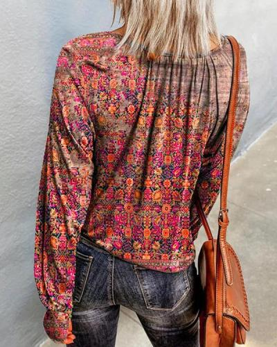 Vintage Print Casual Long-sleeved Tops