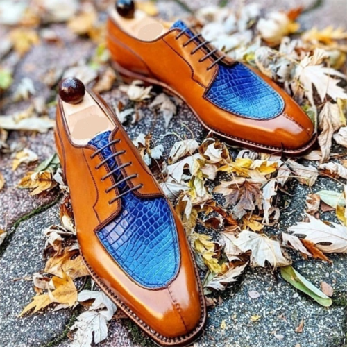2021 New Product Square Toe Color-blocking Lace-up Men's Business Shoes