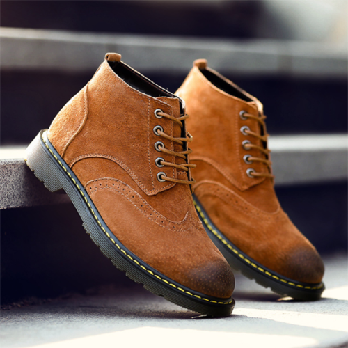 Trendy Brogues High-top Carved Outdoor Tooling Men's Boots