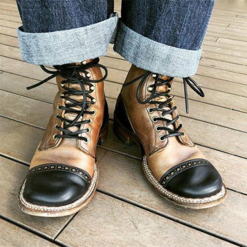 2021 New Fashion Low-heeled Color-blocked Front Lace-up Low-top Men's Boots