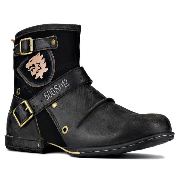 Fashion Trend New Round Toe Retro Men's Leather Boots