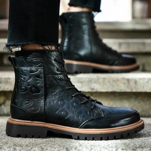 Men's Trendy Comfortable Low-heeled Square Heel Round Toe Low-top Martin Boots