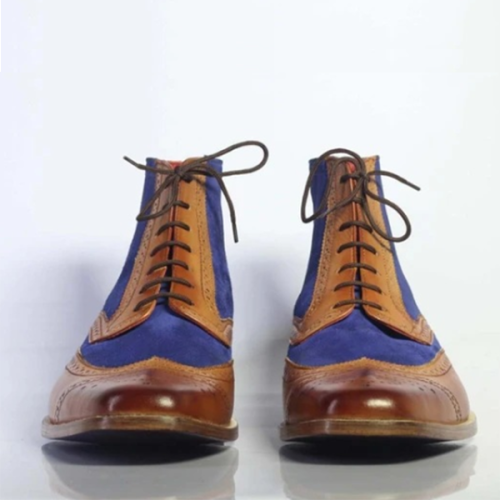 2021 Men's Low-heel Fashion Color Matching Lace-up Low-top Martin Boots