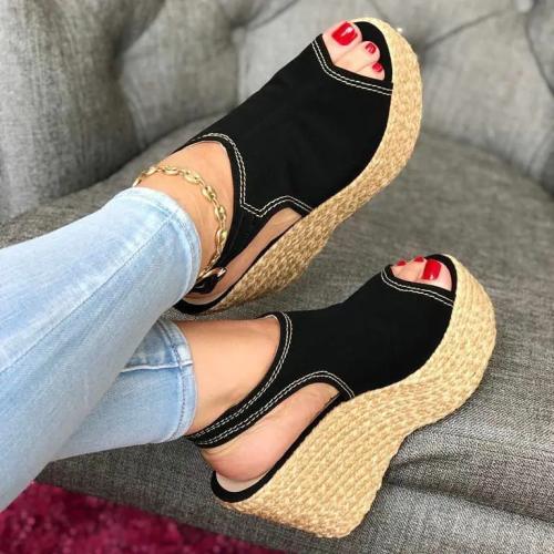 **Women's Comfy Peep Toe Denim Wedge Espadrille Sandals