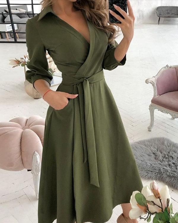 Elegant Solid V Neck 3/4 Sleeve Wrap Midi Dresses