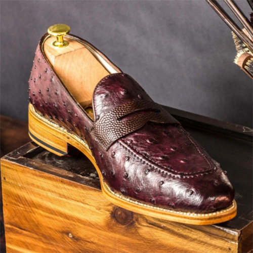 2021 Fashionable Low-heeled Ostrich Business Men's Shoes