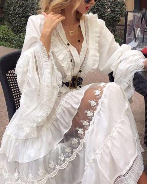 Fashion V-Neck Stitching Solid Color Dress