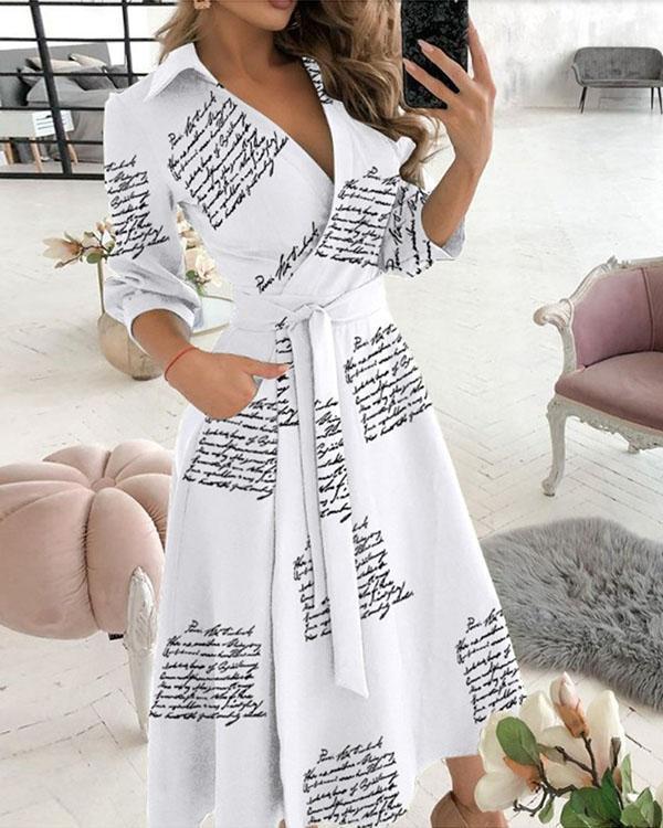 Elegant Print V Neck 3/4 Sleeve Wrap Midi Dresses
