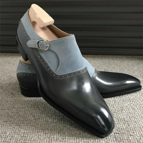 2021 Business Stitching Low-heeled British Square-toe Men's Single Shoes