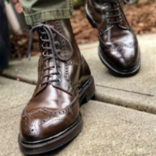 2021 Fashion Trend Brown Brogue Pattern Men's Boots