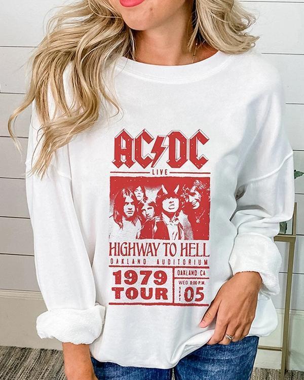 Classic O Neck Graphic Sweatshirt
