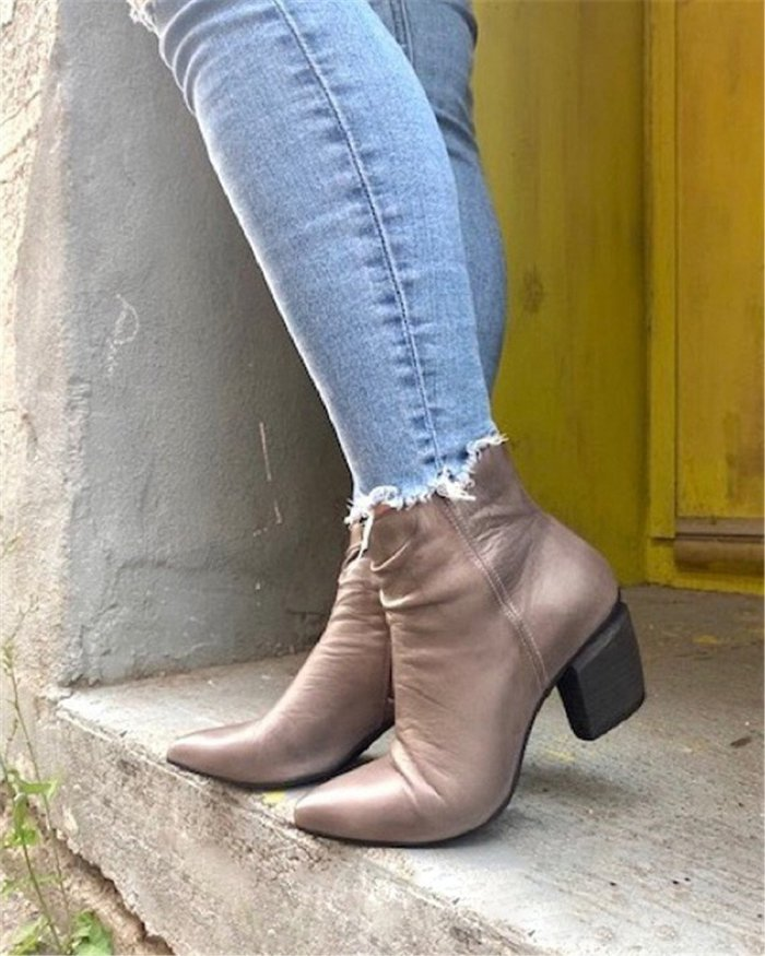 Women's Zipper Ankle Boots Low Heel Boots (Ready for Fal and Win)