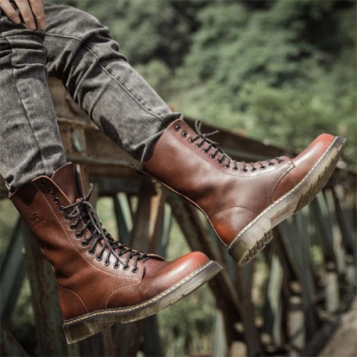 2021 Trendy Low-heeled Round Toe Men's Lace-up All-match Knight Boots
