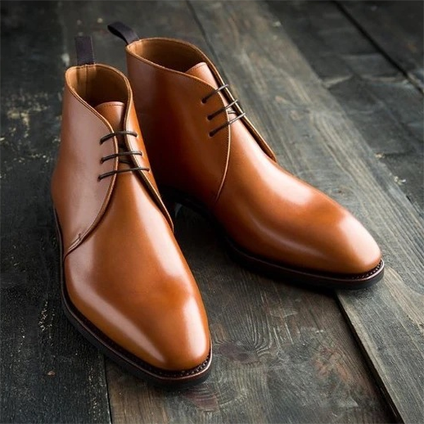 2021 Fashion Low Heel Square Toe Men's Lace-up Solid Color Low Boots