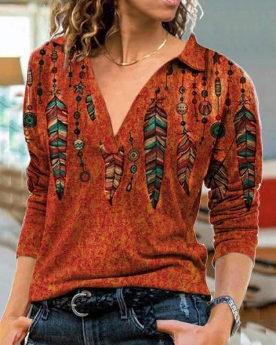 Plus Size Vintage Feather Print Long Sleeve Shirt Collar Tops