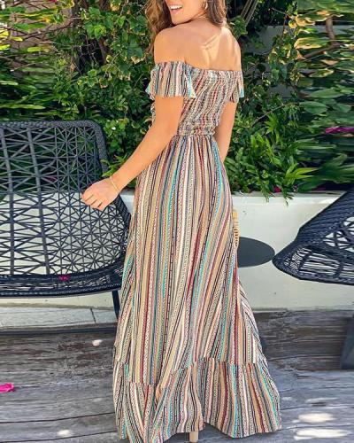 Some Like It Hot Smocked Off The Shoulder Maxi Dress