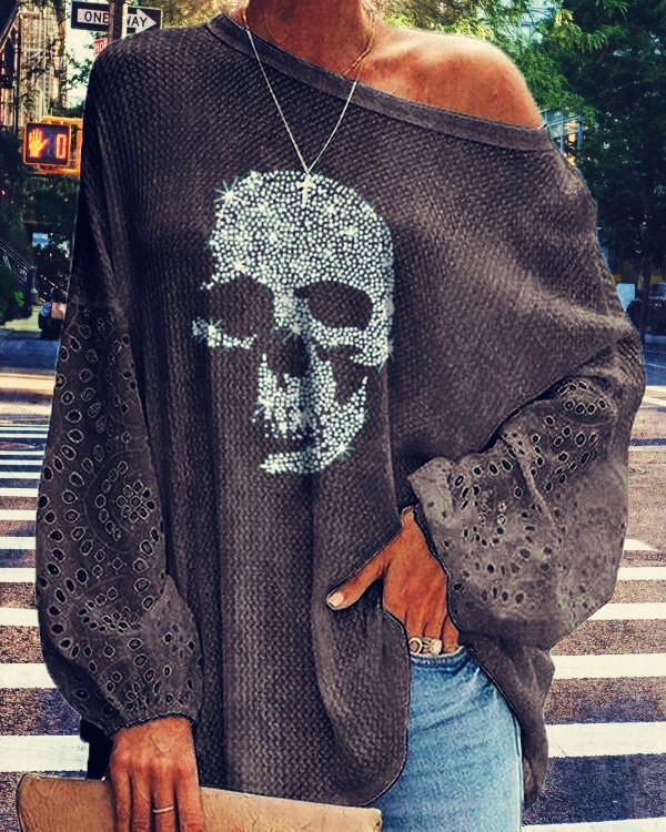 Skull Print Loose Long Sleeve T-shirt