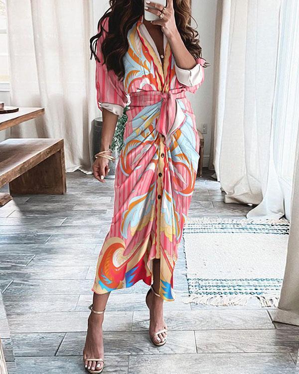 Women Elegant Pleated Belted Maxi Dress