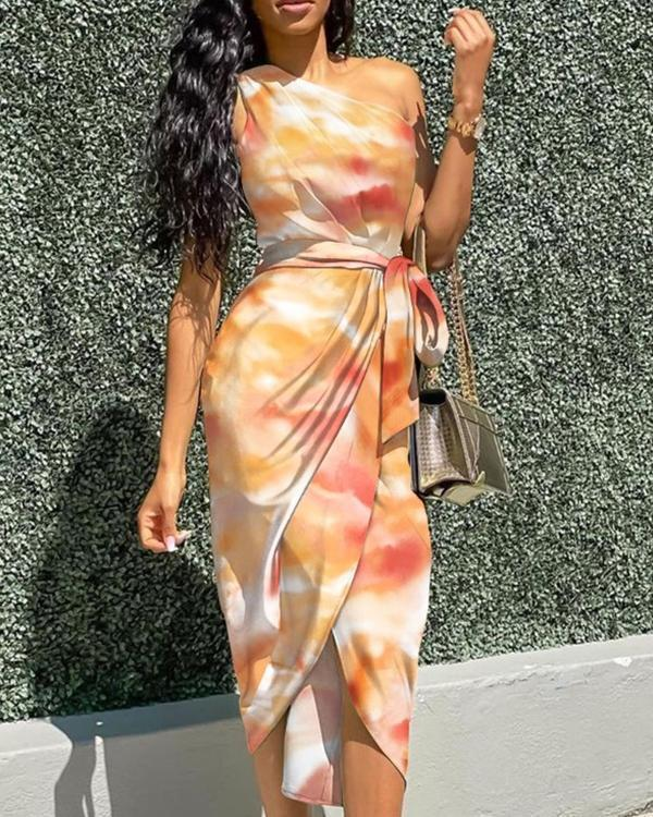Butterfly Print Oblique Shoulder Irregular Dress