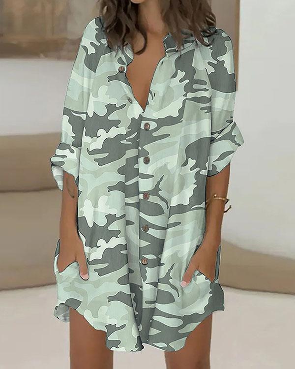 Casual Print Button Down Shirt Dress Beach Cover Ups