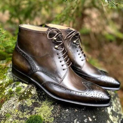 Men's Trendy Comfortable Low Heel Round Toe Front Lace-up Men's Low Boots