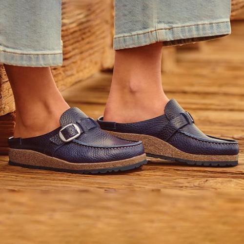 Women'S Comfort Natural Leather Construction Clog Shoes