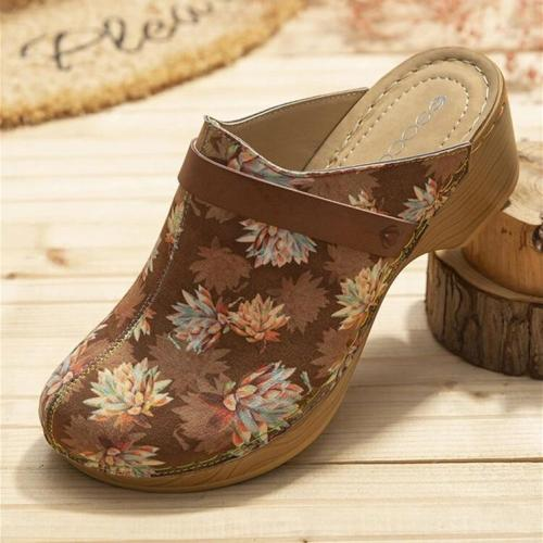 Comfy Wearable Slip On Wood Mules Clogs Casual Low Heel Sandals