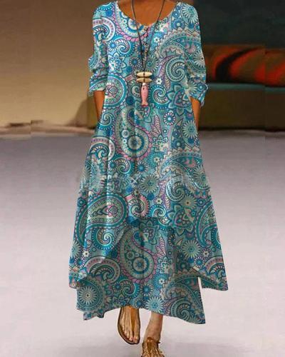 Women Autumn Button Neck Print Irregular A-line Maxi Dresses