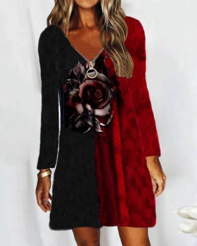 Casual V Neck Zipper Neck Long Sleeve Rose Print Contrast Dress