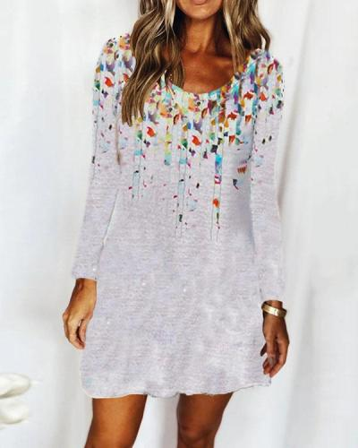 Casual Round Neck Long Sleeve Floral Ombre Dress