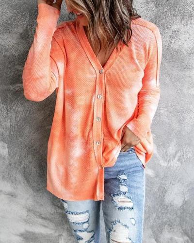 Buttoned V-neck Loose Tie-dye Cardigan