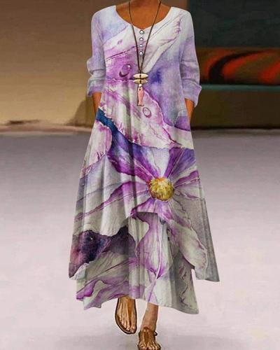 Spring Autumn Button Digital Print 3/4 Sleeve Irregular Maxi Dresses