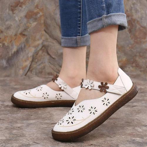 Women Sweet Casual Calico Band Hook Loop Loafers