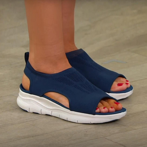 Hollow Out Open Toe Slip-On Sandals
