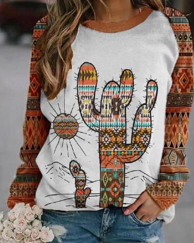 Women's Western Ethnic Cactus Print Sweatshirt