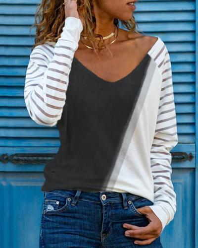 Casual V Neck Long Sleeve Plain Shirts & Tops