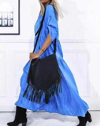 Elegant 3/4 Sleeve Long Dress