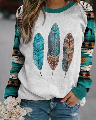 Women's Western Ethnic Feather Print Sweatshirt